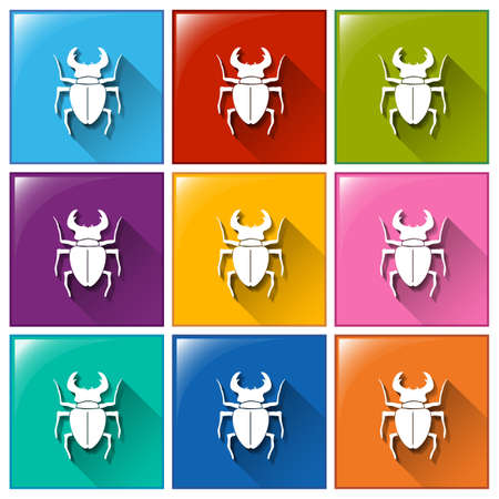 Illustration of the buttons with insects on a white background Illustration
