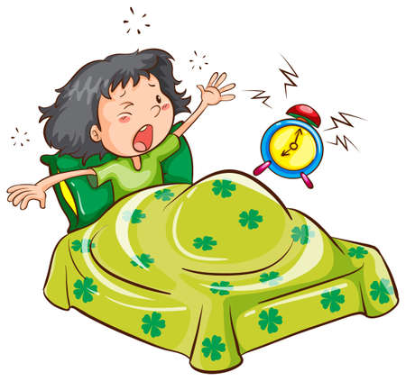 timing: Illustration of a young girl with an alarm clock on a white background