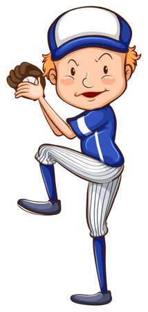 contestant: Illustration of a simple drawing of a baseball player on a white background Illustration