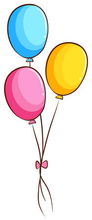 occassion: Illustration of a simple coloured drawing of balloons on a white background Illustration
