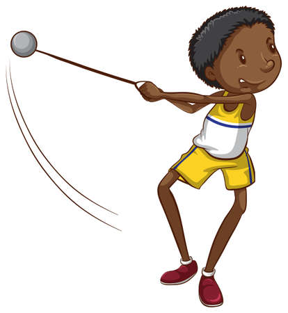dark complexion: Illustration of a simple drawing of a young boy throwing a ball on a white background