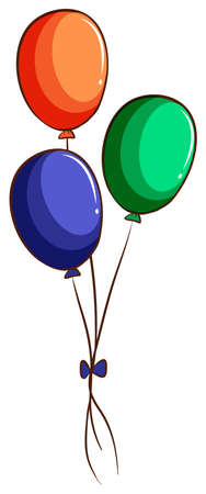 colored balloons: Illustration of a drawing of three colourful balloons on a white background Illustration