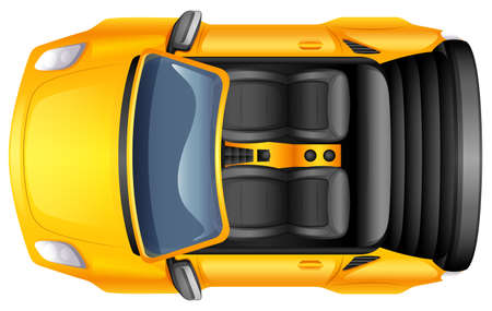 car tire: Illustration of a yellow sportscar on a white background Illustration