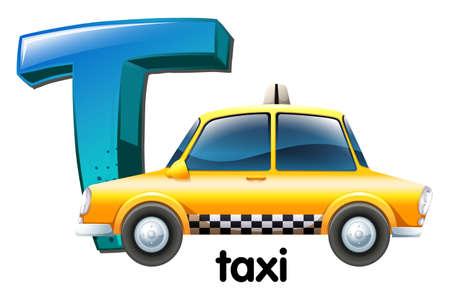 t background: Illustration of a letter T for taxi on a white background Illustration
