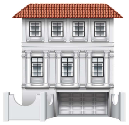 detached house: Illustration of a big house with a garage on a white background Illustration