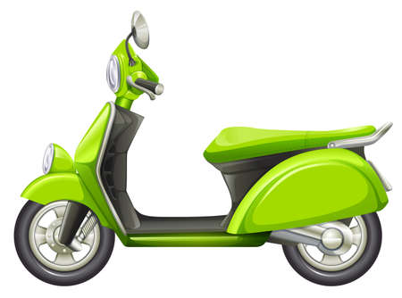 motorised: Illustration of a green scooter on a white background Illustration