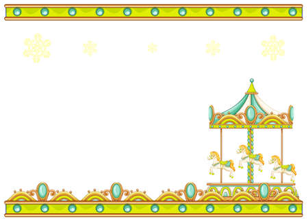 carousel: Illustration of a stationery template with a merry-go-round ride on a white background