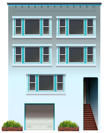 concrete stairs: Illustration of a big apartment on a white background