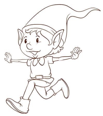 Illustratie van een platte tekening van een elf op een witte achtergrond Stock Illustratie