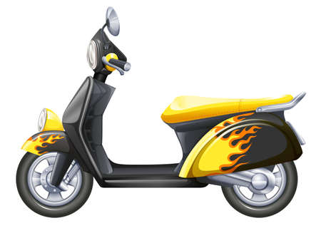 mopeds: Illustration of a cost-efficient vehicle on a white background