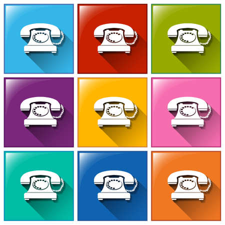 telephones: Illustration of the buttons with telephones on a white background