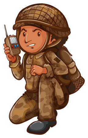dragoon: Illustration of a soldier with a communication tool on a white background