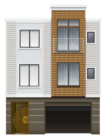 resident: Illustration of a modern house with a garage on a white background