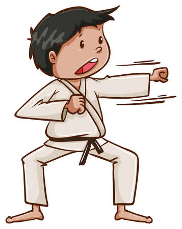 contestant: Illustration of a plain drawing of a martial arts artist on a white background