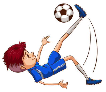 contingent: Illustration of a soccer player kicking the ball on a white background