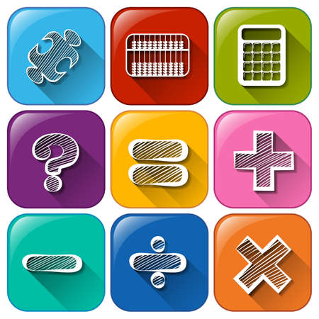 signos matematicos: Ilustraci�n de los botones con los signos matem�ticos sobre un fondo blanco Vectores