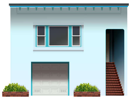 Illustration of a house with a stair and a garage on a white background Vector