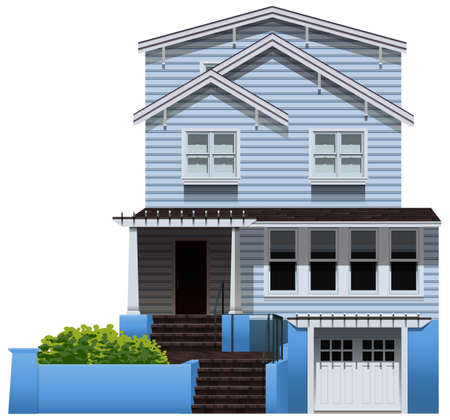 Illustration of a big wooden house on a white background Vector