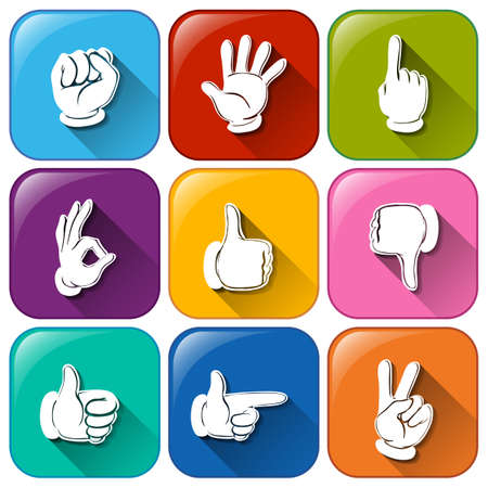 disapprove: Illustration of the buttons with different hand signs on a white background Illustration