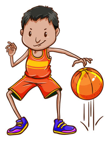 boy ball: Illustration of a basketball player on a white background