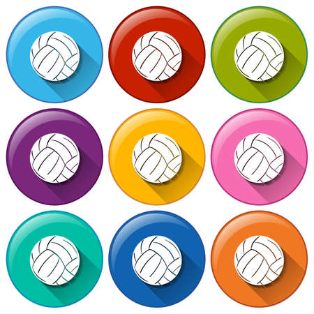 ballgame: Illustration of the buttons with balls on a white