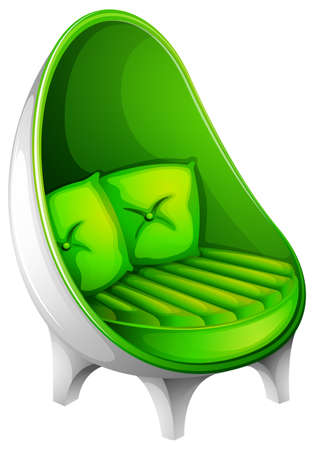 Illustration of a green chair furniture on a white background