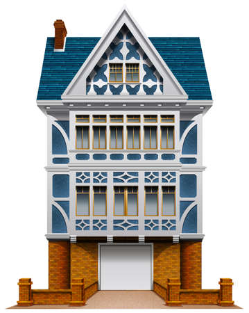 Illustration of a big house with a garage on a white  Vector