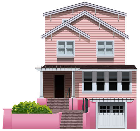 concrete stairs: Illustration of a beautiful pink house on a white