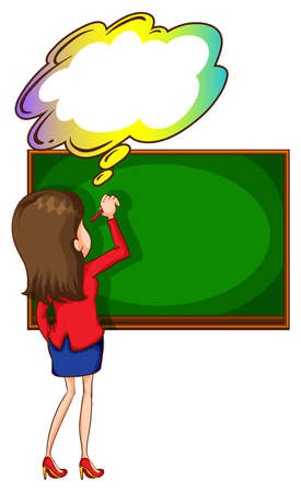 Illustration of a teacher writing at the board with an empty thought on a white  Vector
