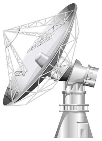 artificial satellite: Illustration of a grey satellite on a white background