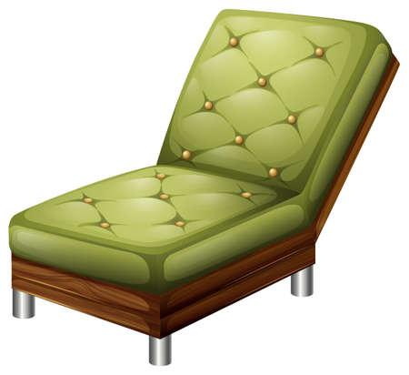 ergonomie: Illustration einer gr�nen eleganter Stuhl M�bel auf einem wei�en