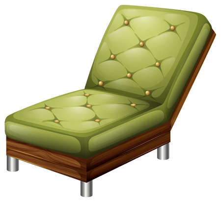 Illustration of a green elegant chair furniture on a white