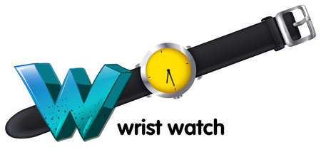 vibrations: Illustration of a letter W for wrist watch on a white  Illustration