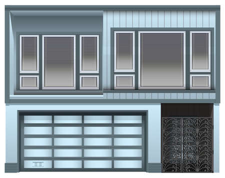 garage door: Illustration of a big building on a white