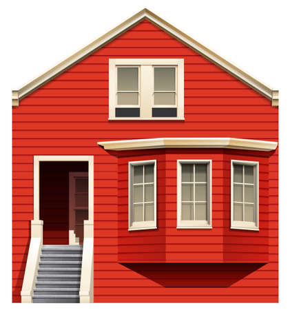 detached house: Illustration of a red house with stairs on a white background