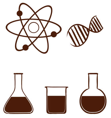assays: Illustration of a simple science experiment on a white background Illustration