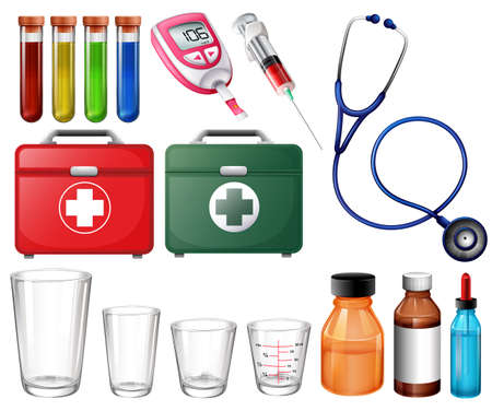 Illustration of the different medical sets on a white background Vector