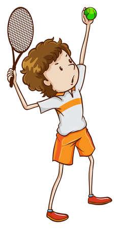 Illustrazione di un appassionato di tennis giovane su uno sfondo bianco