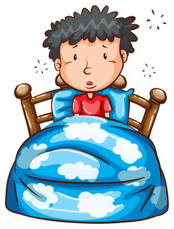 obudził: Ilustracja człowiek budzi się w środku nocy, na białym tle
