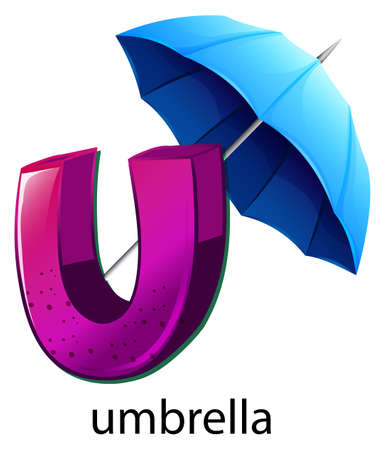 capitalized: Illustration of a letter U for umbrella on a white background