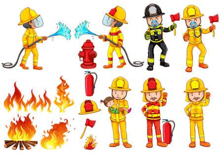 voiture de pompiers: Illustration d'un groupe de pompiers sur un fond blanc Illustration