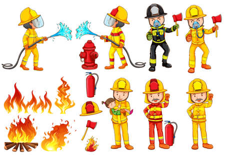hogueras: Ilustraci�n de un grupo de bomberos sobre un fondo blanco