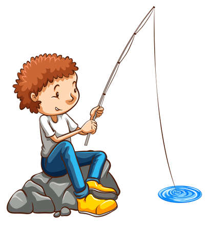 Illustration of a simple drawing of a man fishing on a white background Vector
