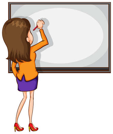 Illustration of a sketch of an educator writing on a white background Illustration