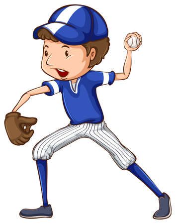 contestant: Illustration of a simple drawing of a baseball player in blue uniform on a white background