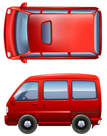 view: Illustration of the red minivans on a white background