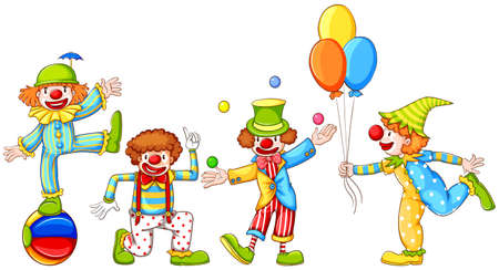 juggling: Illustration of a simple drawing of four playful clowns on a white background Illustration