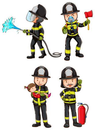 Ilustración de un bosquejo simple de bomberos sobre un fondo blanco