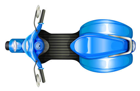 a two wheeled vehicle: A topview of a blue scooter on a white background Illustration