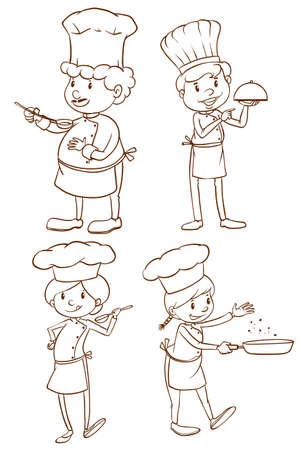 culinary arts: A plain drawing of the male and female chefs on a white background Illustration